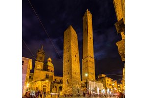 Ancient towers and church in Bologna, Italy