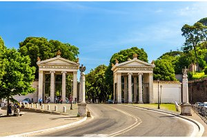 Monumental entrance to the Villa Borghese in Rome