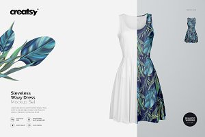Sleeveless Wavy Dress Mockup Set