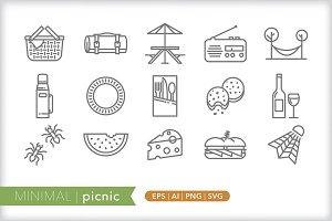 Minimal picnic icons