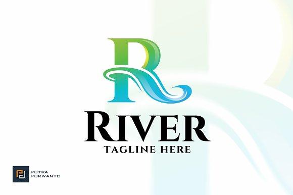 River Letter R Logo Template