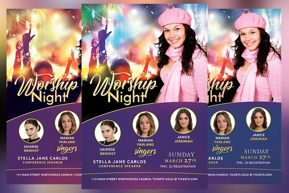 Worship Night Church Flyer