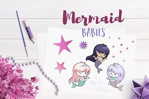 Mermaid Babies Illustrations