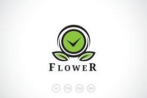 Clock Flower Logo Template