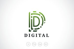 Digital D Letter Logo Template