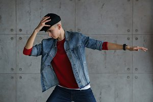 Teen boy dancing hip-hop
