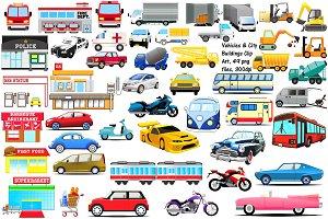 Vehicles & City Bldgs Clip Art