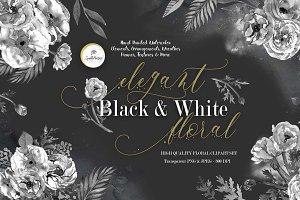 Elegant Black & White Floral Clipart