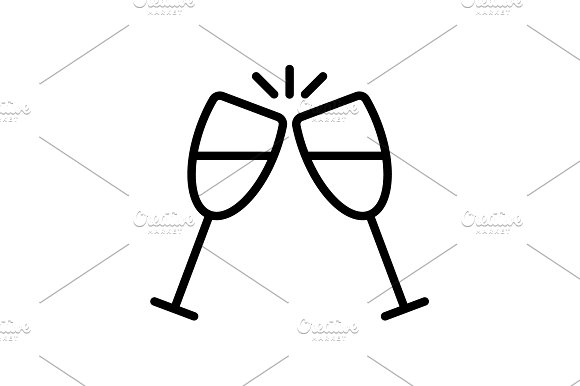 Web Line Icon Glasses Of Champagne