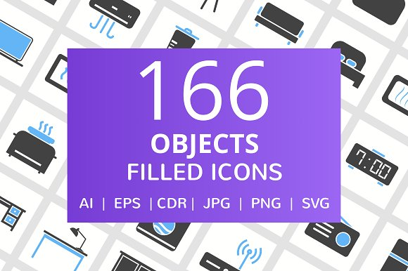 166 Objects Filled Icons