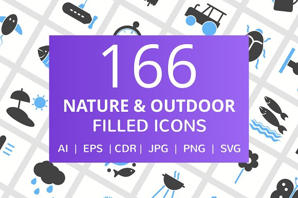 166 Nature Outdoor Filled Icons