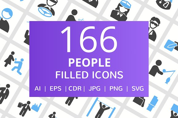 166 People Filled Icons