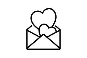Web line icon. Love Letter. black