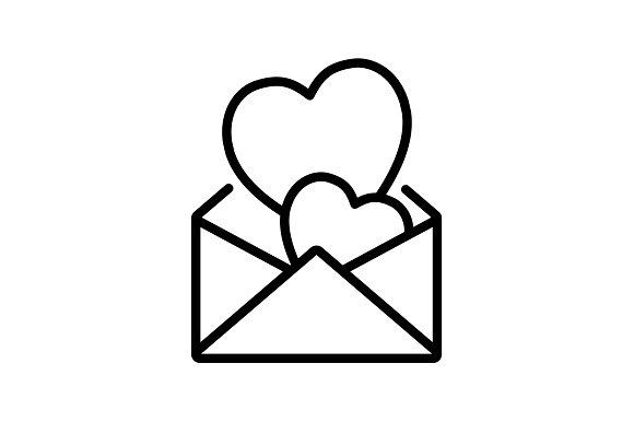 Web Line Icon Love Letter Black