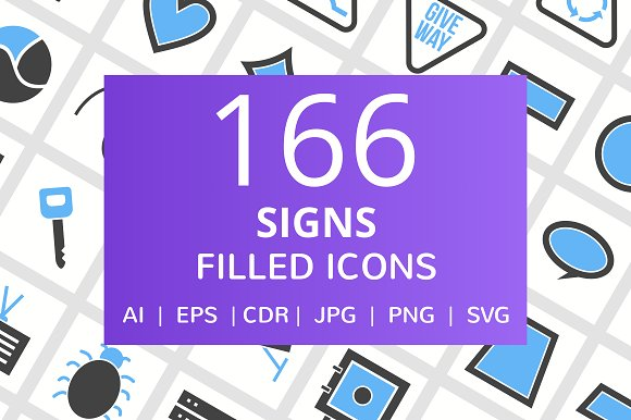 166 Signs Filled Icons