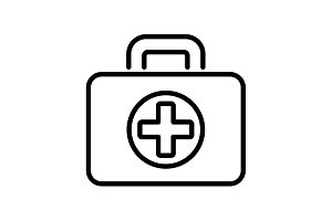 Web line icon. Medical case. black