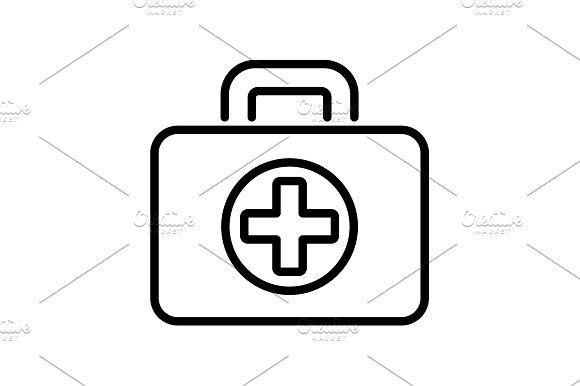 Web Line Icon Medical Case Black