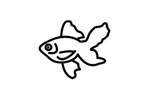 Web line icon. Gold fish. black