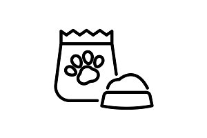 Web line icon. Pet food. black