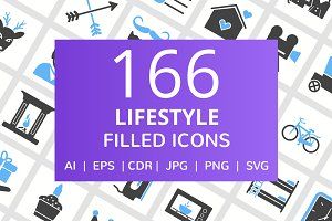 166 Lifestyle Filled Icons