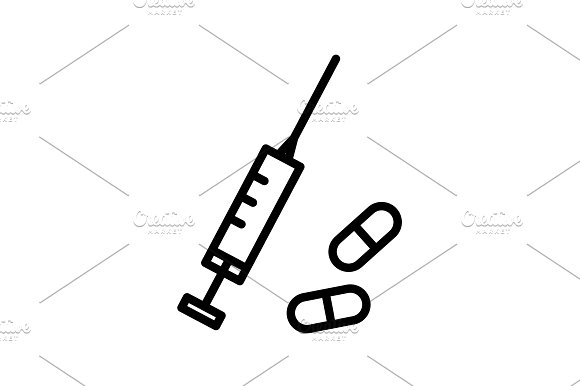 Web Line Icon Syringe And Tablets
