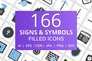 166 Signs & Symbols Filled Icons