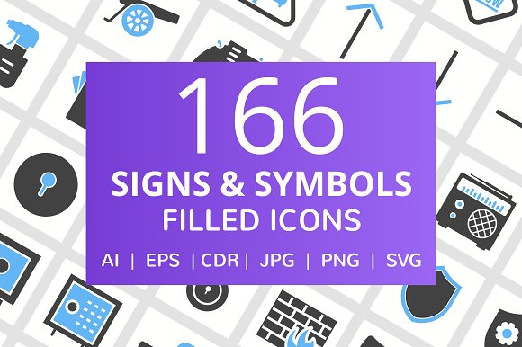 166 Signs Symbols Filled Icons