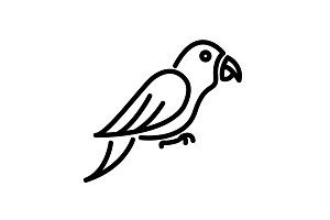 Web line icon. Parrot. black