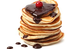 stack of pancakes with chocolate
