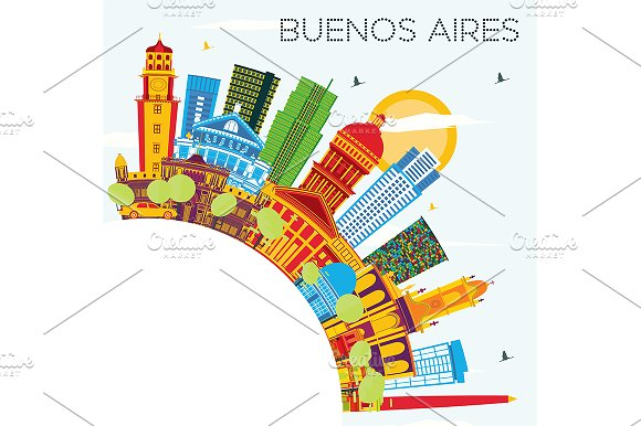 Buenos Aires Skyline With Color