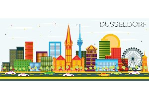 Dusseldorf Skyline with Color