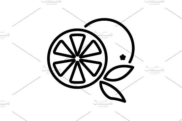 Web line icon. Orange black on white