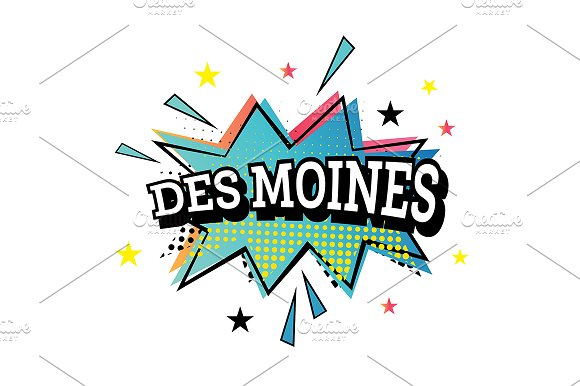 Des Moines Comic Text In Pop Art