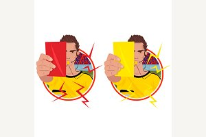 Stickers with referee holding cards