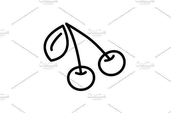 Web Line Icon Cherry Black On White