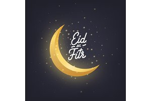 Ramadan Kareem greeting design with crescent moon, glowing stars and Eid-al-Fitr script lettering