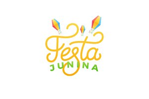 Festa Junina. Holiday card design for Brazilian June festa de Sao Joao. Lettering and sky lanterns