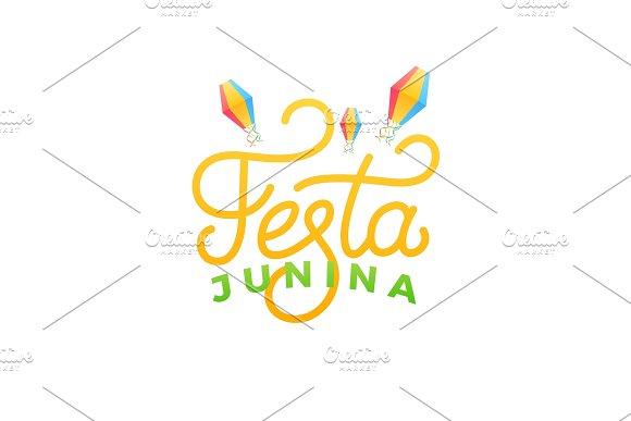 Festa Junina Holiday Card Design For Brazilian June Festa De Sao Joao Lettering And Sky Lanterns