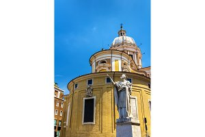 Statue of San Carlo and the Basilica in Rome