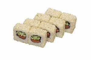 Sushi maki with sesame seeds.