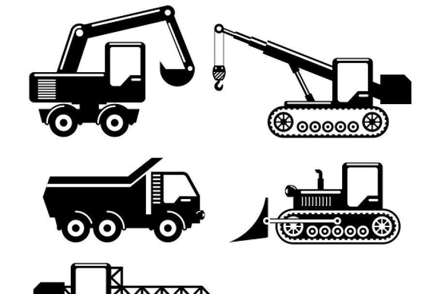 Construction Machinery Icons Icons Creative Market