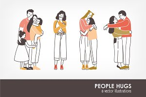 Pairs of hugging or cuddling people