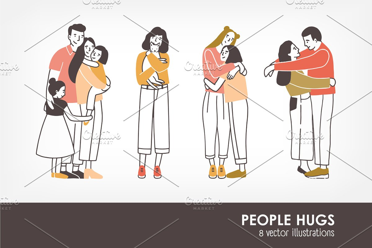 Pairs of hugging or cuddling people ~ Illustrations