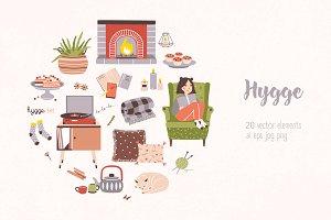 Hygge attributes, furniture, home