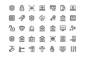Security and protection line icons