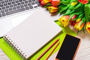 Office desk with Bouquet of Tulips
