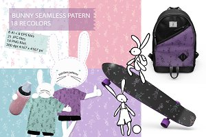 Bunny line seamless pattern for kids