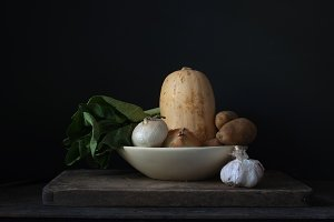 Dark and Moody Vegetables on Rustic