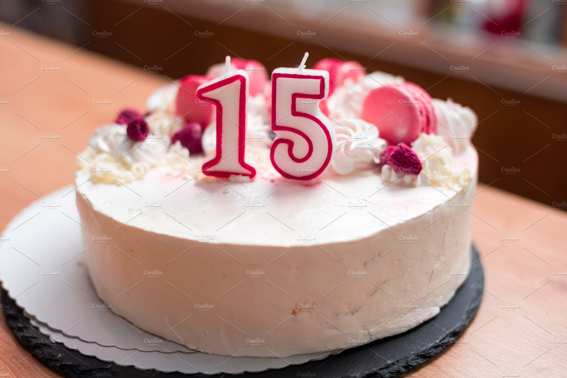 Birthday Cake For 15 Years Old Girl Food Images Creative Market