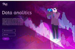 Big data isometric design concept. Man in suit use binocular spyglasses. Business analitics and digital marketing